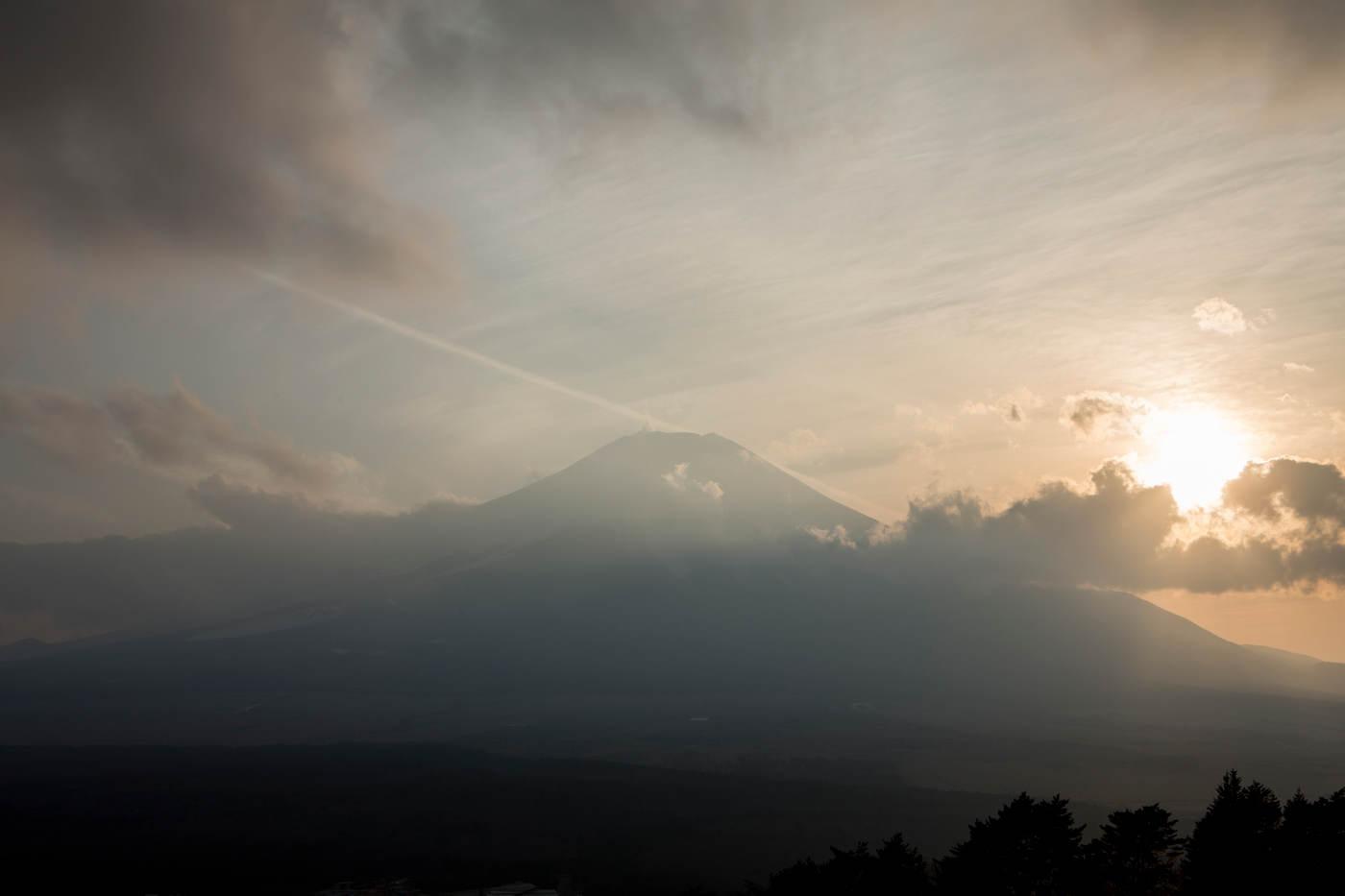 Storm clouds aroud Mt. Fuji.