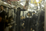 School boy on the subway.