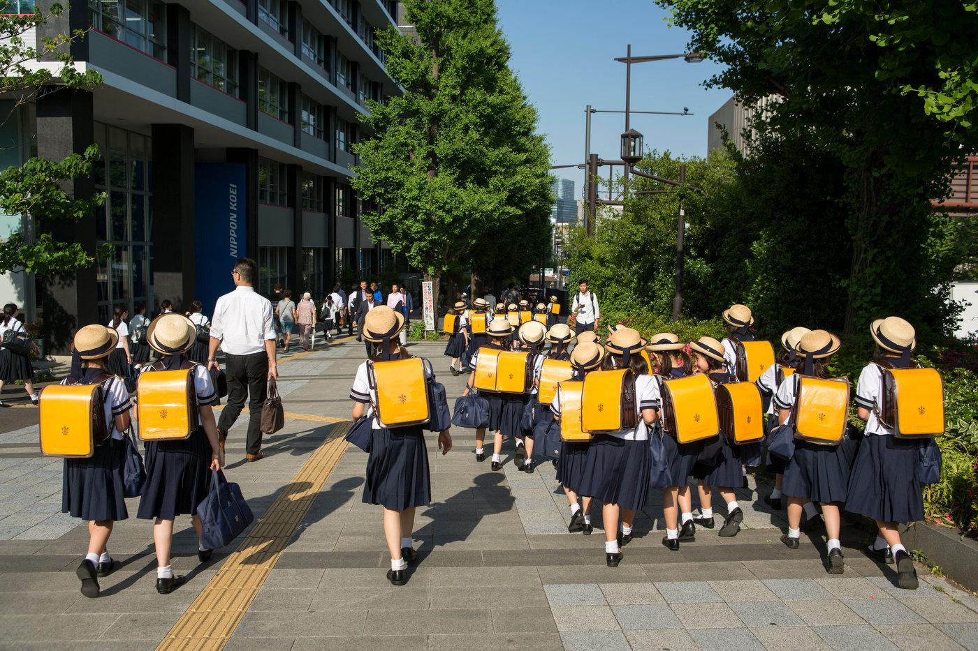 School girls on a field trip, Central Tokyo.