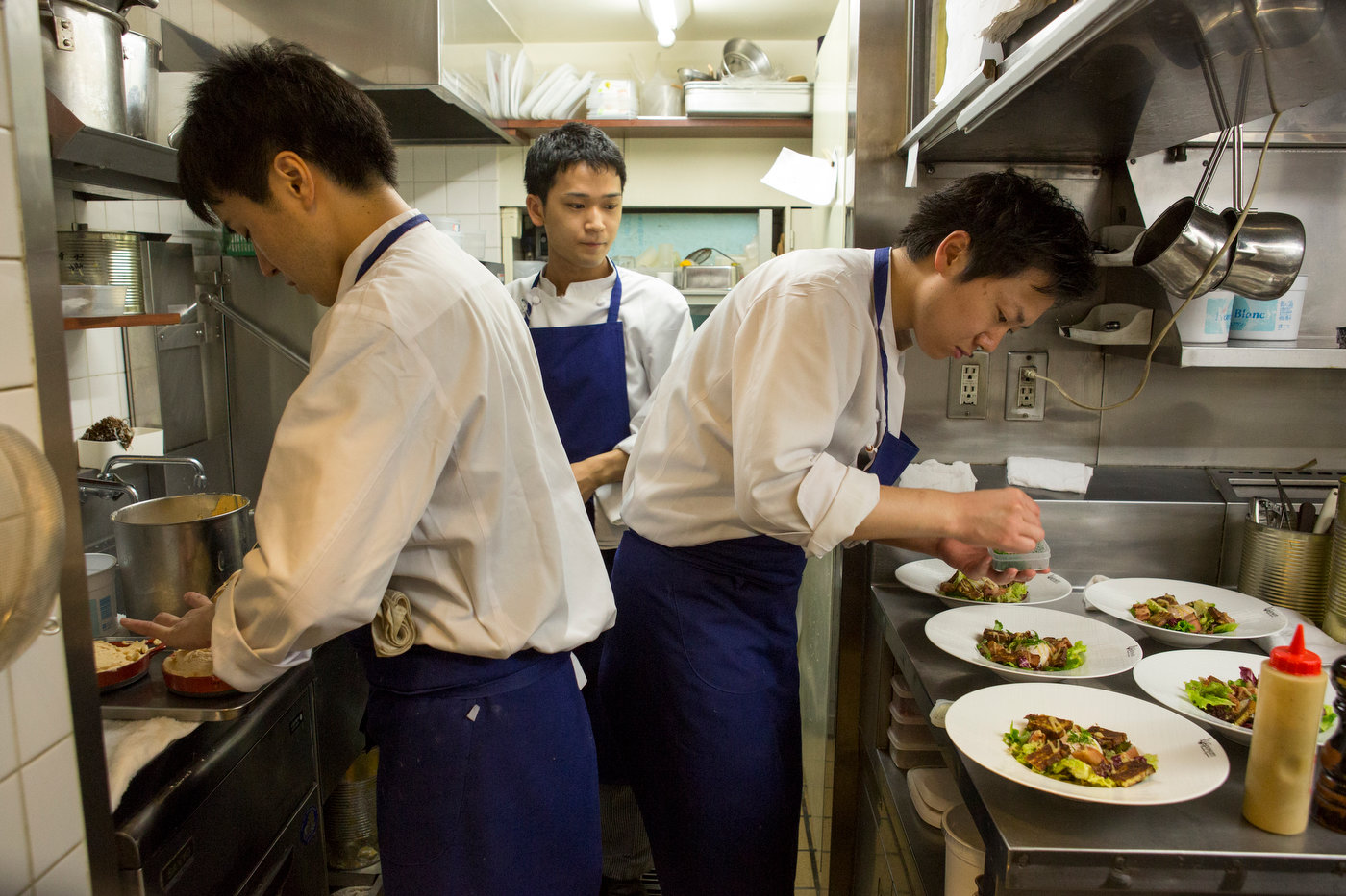 Chefs at work in a Michelin star restaurant in Kagurazaka.
