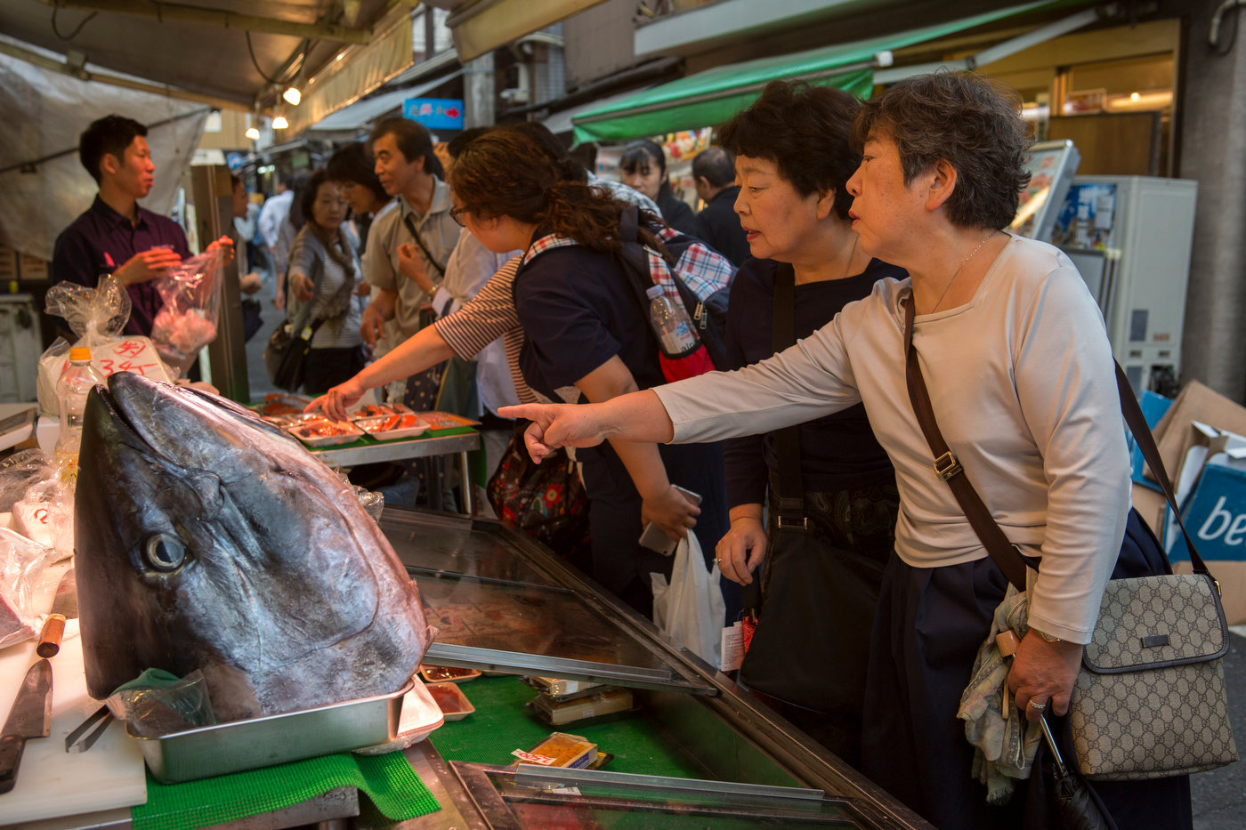 A tuna head greets visitors at a fish stand in the Tsukiji exterior fish market.