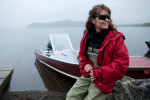 Sarah Palin prepares for a boat ride in Dillingham.