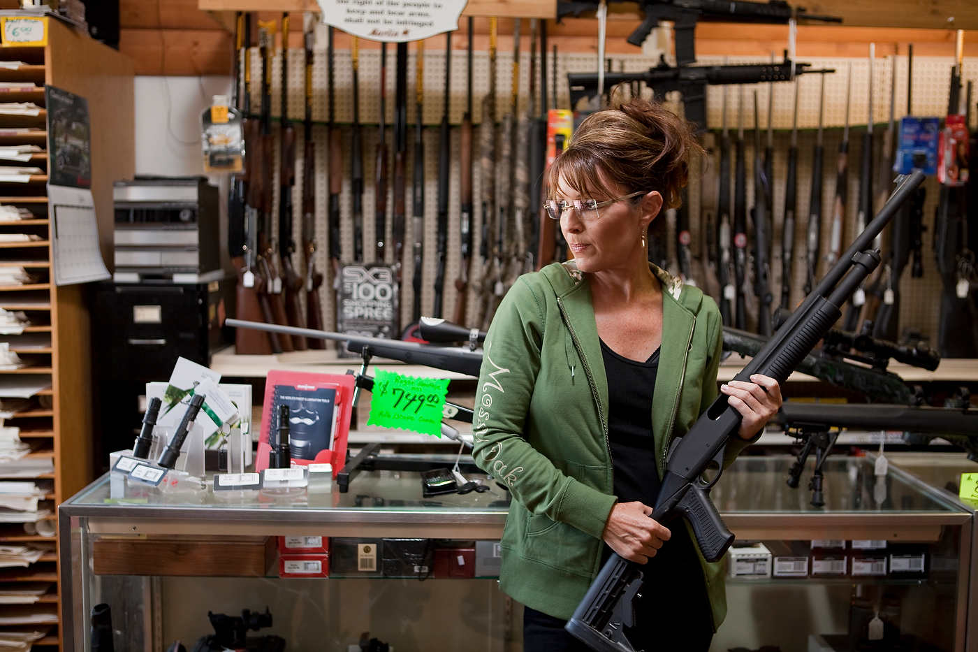 Sarah Palin exercises her 2nd amendment rights in Chimo Guns, Wasilla.