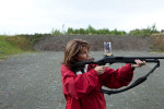 Sarah Palin practices bear shooting in Wasilla.