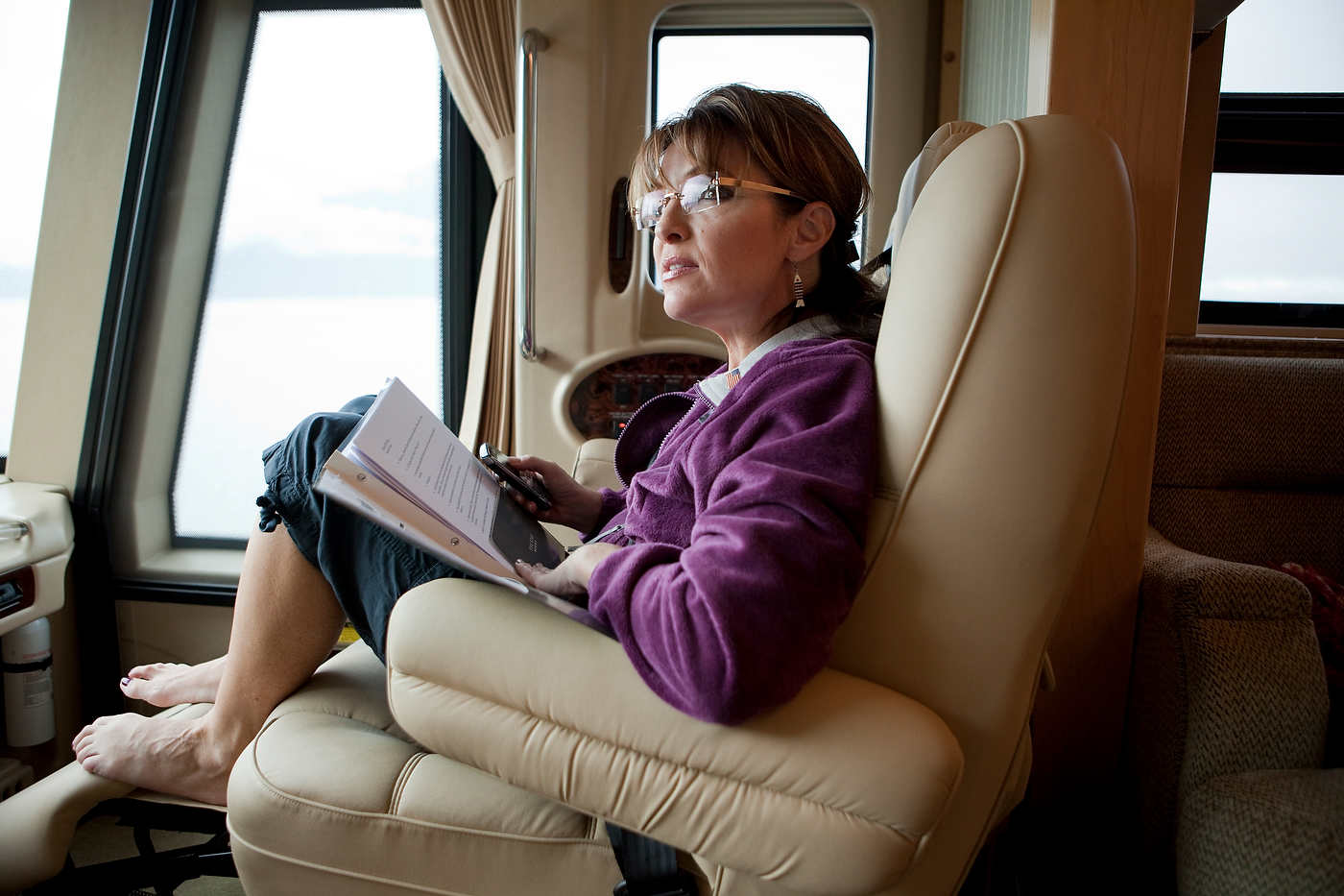 Sarah Palin heads to Hommer in the family RV for a fishing trip.