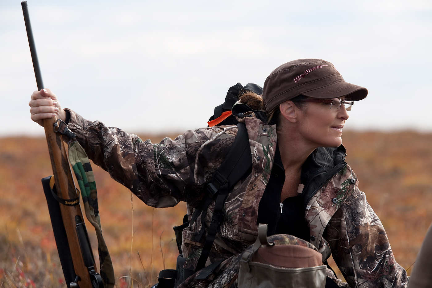 Sarah Palin hunts caribou near Kavik, north of the Arctic Circle..