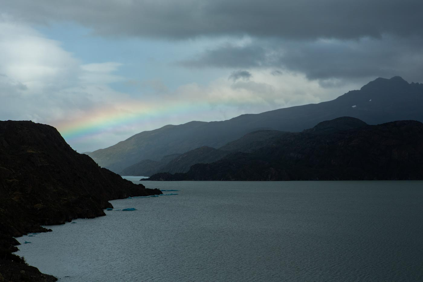 Rainbow near Grey Glacier, Torres del Paine, Chile.