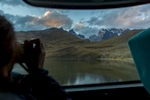 On the bus, Torres del Paine, Chile.