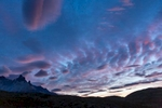4th trek day in Torres del Paine: 8 am sunrise from the tent (very civilized time).