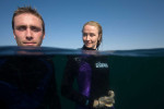 Philippe and Alaxendra Cousteau, Sea of Cortez, Mexico, for Discovery Channel.