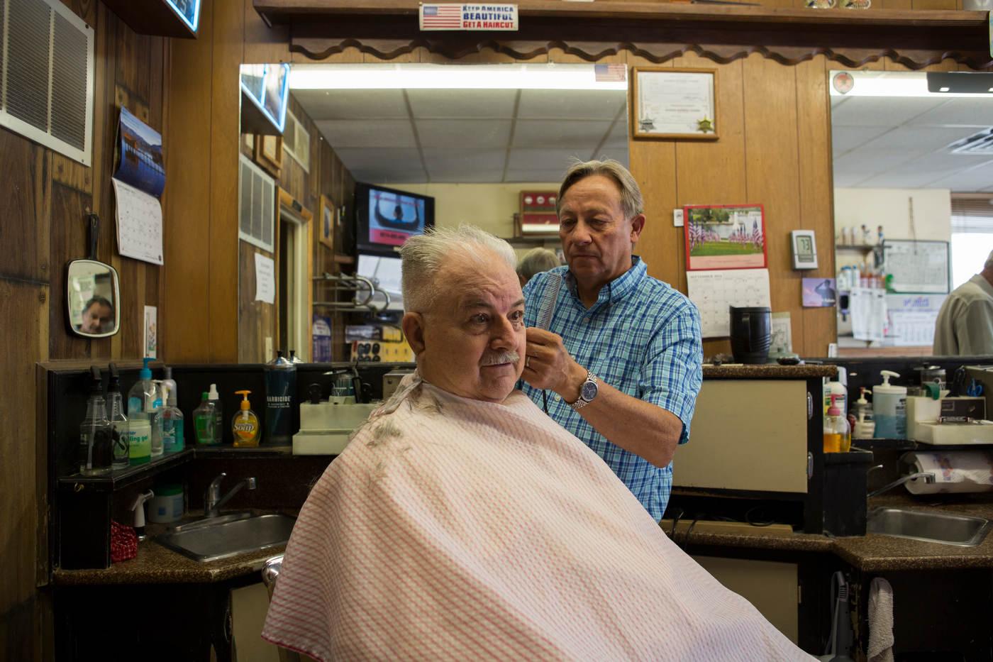 Marvin Ackers, 79, likes Trump's business acumen, Glen's Barber Shop | Dodge City, Kansas.