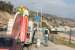 Camper and skateboarder on Pacific Coast Highway near Malibu.
