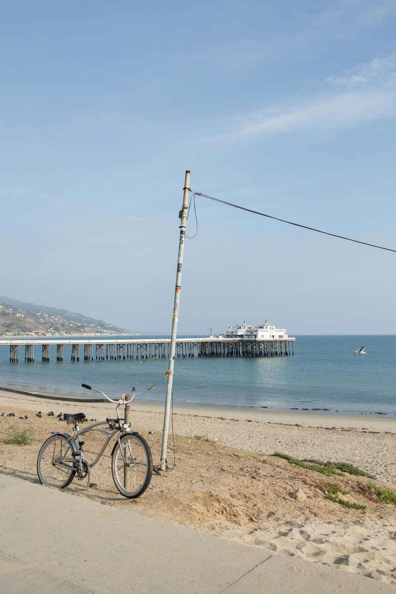 Beach bike and the Malibu pier, Pacific Coast Highway.