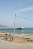 Beach bike and the Malibu pier, Pacific Coast Highway.