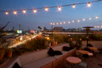 Rooftop bar at dusk, West Hollywood.