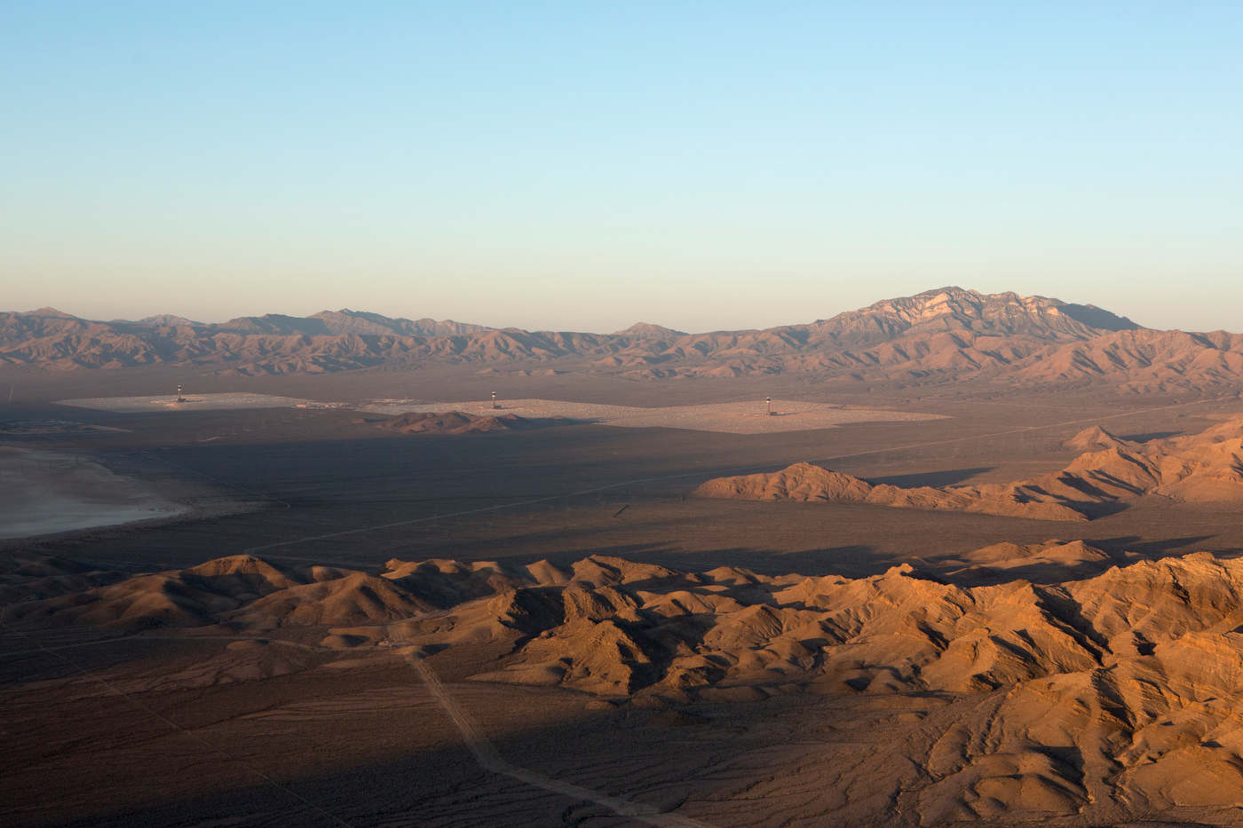 Aerial view of Ivanpah at sunrise.