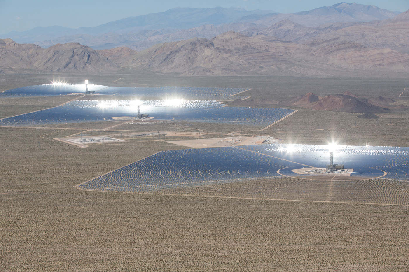 Aerial view of Ivanpah's three towers at full power.