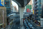 TOKYO: Elevated highway and trains tracks help solve Tokyo's space problem (photo Gilles Mingasson).