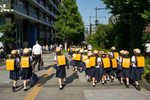 CENTRAL TOKYO -MAY 2017: School girls on a day trip near the Yasukuni shrine (photo Gilles Mingasson).
