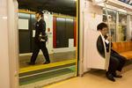 ASAKUSA, TOKYO -MAY 2017: Shift change in te Asakusa subway station (photo Gilles Mingasson).