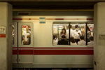 TOKYO -MAY 2017: Commuters on the Tokyo Subway (photo Gilles Mingasson).