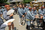 ASAKUSA, TOKYO -MAY 2017: The Sanja Matsuri Festival Day 2. Traditionally dressed festival participants display their neighborhood colors as they get ready to carry one of the approximately 100 mikoshi (portable shrines) from the 44 Asakusa districts gathered at the Kaminarimon. The portable shrines will be paraded through Nakamise-dōri and stop at the Hōzōmon where they pay their respects to Kannon, the Goddess of Mercy. Afterwards, the mikoshi are carried to Asakusa Shrine where Shinto priests bless and purify them for the coming year. When the ceremony is completed, they are then carried back and paraded through their respective neighborhoods. Some of the mikoshi weigh approximately one ton and cost as much as 40 million yen ($400,000 USD). Despite the weight, mikoshi teams bounce them up and down wildly for the festival. Teams compete to be the most genki. They demonstrate the Japanese passion for teamwork and ganbatte spirit.The Sanja Matsuri ( literally {quote}Three Shrine Festival{quote}) is an annual festival in the Asakusa district that usually takes place over the third full weekend in May. It is one of the three great Shinto festivals in Tokyo. It is considered one of the wildest and largest. It is held in celebration of the three founders of Sensoji Temple, who are enshrined in Asakusa Shrine next door to the temple. Nearly two million people visit Asakusa over the three days of the festival, making it one of Tokyo's most popular festivals (photo Gilles Mingasson).