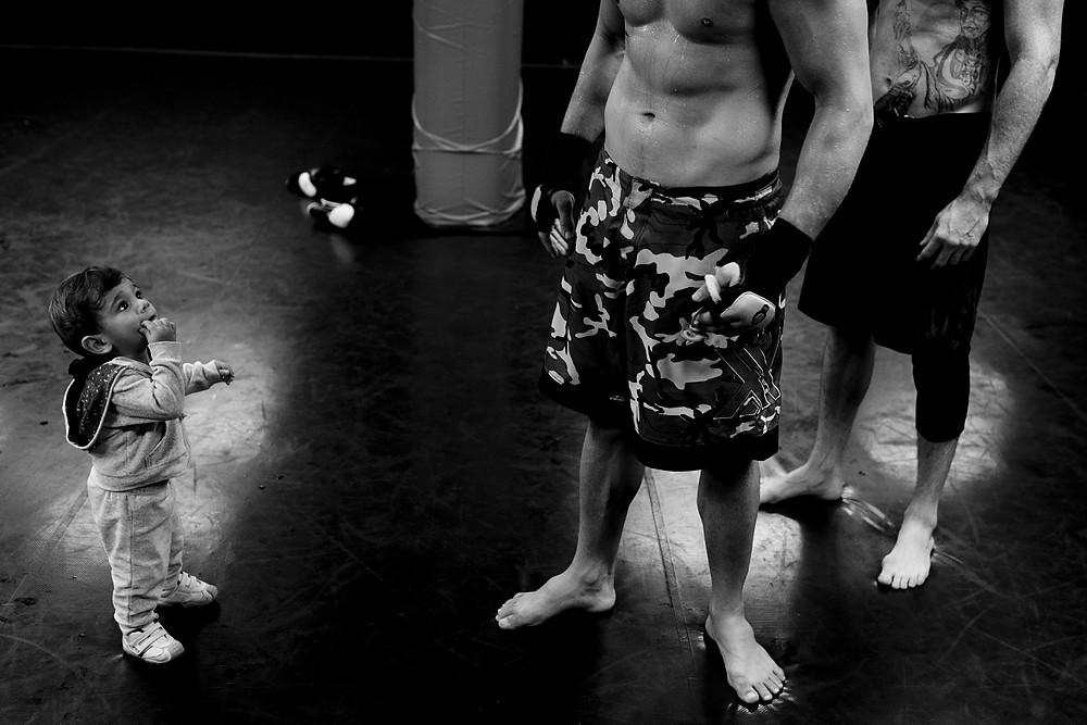 Son of one of MMA fighters during training, Rio de Janeiro, Brazi, 2011.