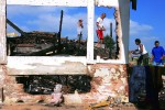 View from inside a shack in a burned slum area in north of Sao Paulo, Brazil, 2005.