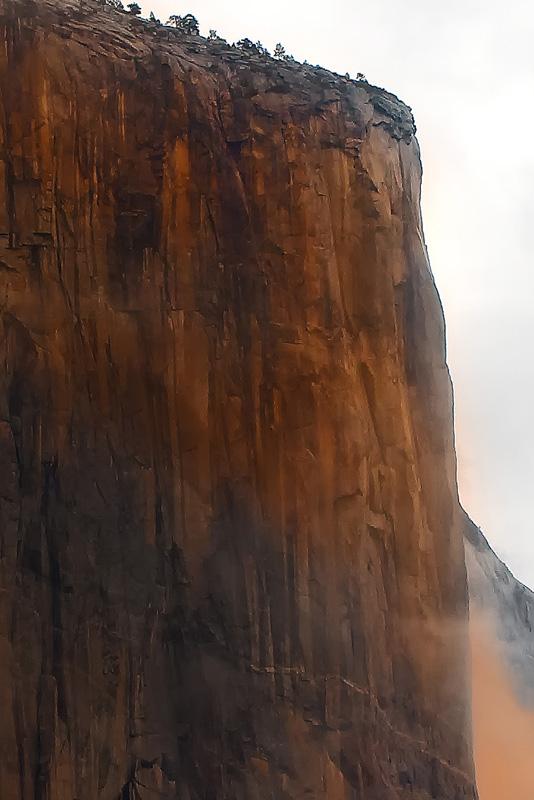 Sun highlight on El Capitan, Yosemite.