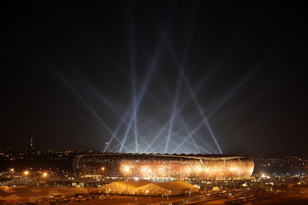 Soccer City stadium in Johannesburg hosts the Fifa 2010 Soccer World Cup in South Africa.