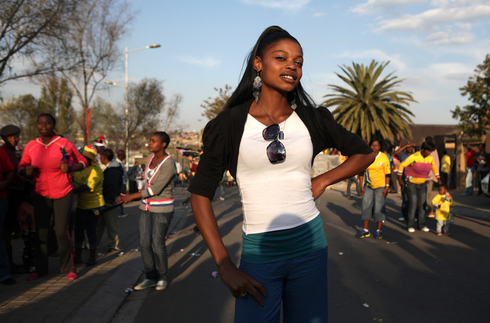 Boitumelo Motaung (19) who wants to be a model, was one of the revellers at a Twenty Days until World Cup street party in Vilakazi Street, Orlando West, Soweto.