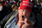 Thousands of Trump supporters converged on small town for Georgia Victory Rally to show support for President Donald Trump and two Republican incumbent U.S. senators Kelly Loeffler and David Perdue, who face democratic challengers in special run run-off election January 5, 2021. The election could decide control of the U.S. Senate.Pictured: A Trump supporter from central Georgia displays his disdain for news media, call it all 'fake news.'
