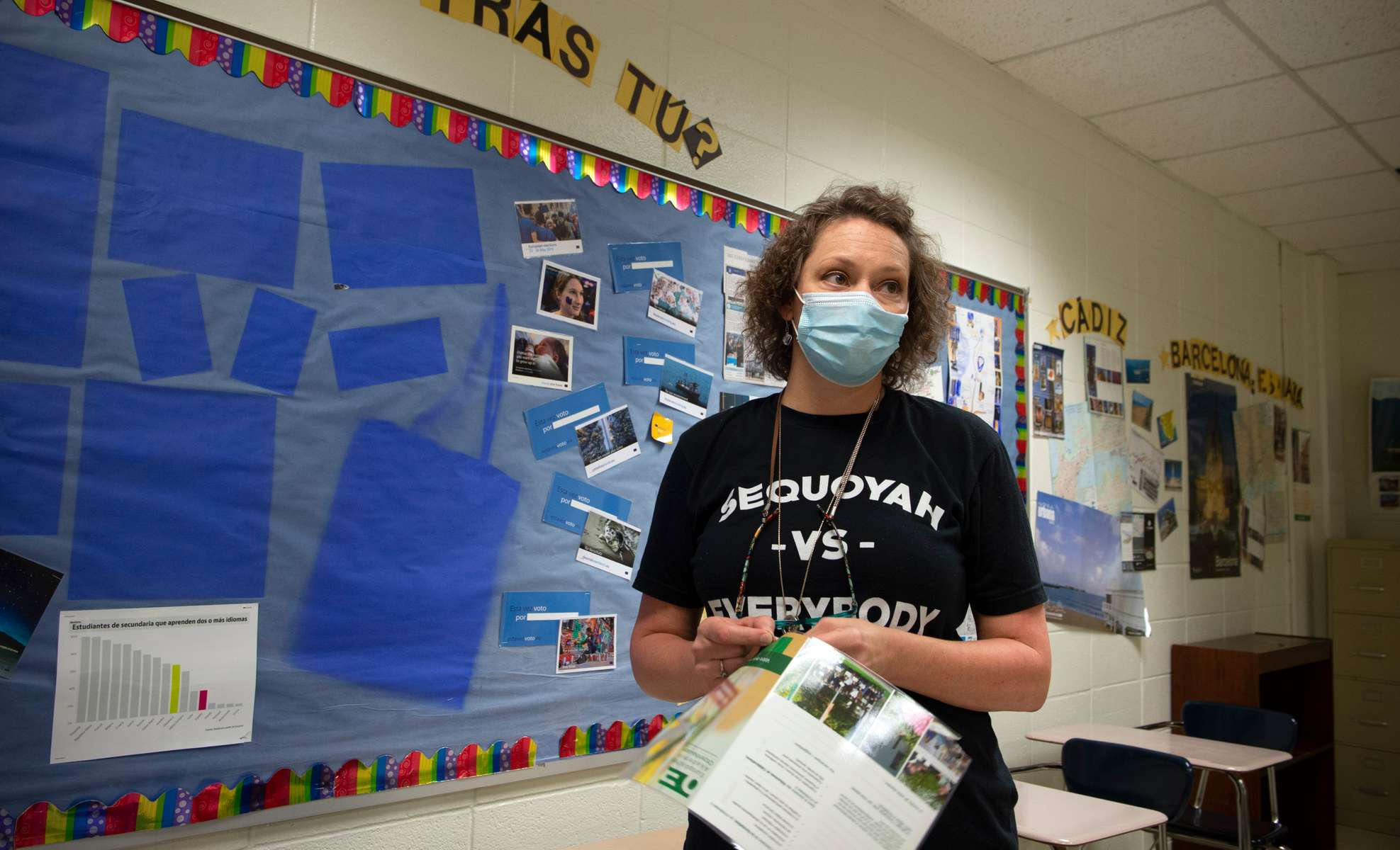 """Allison Webb, 44, a Spanish and French teacher at Sequoyah High School, packs her personal items and dismantles her classroom's displays as she ends her decades-long teaching career. I feel betrayed,"""" she said. Webb resigned after the county school administrators failed to mandate protective masks for all students when in-person classes resume in August. """"I can't risk my health, and that of my family. Students and staff will get sick, it's happened in other school districts,"""" she said. """"The administration just seems not to care. We're expendable, just cogs in the system,"""" she said. Webb resigned last week, and said there are more resignations coming. The county school system is the only one in metro Atlanta with in-person classes scheduled when school resumes. Surrounding counties have either all-virtual classes or a mix of e-learning and in-person classes, she said."""