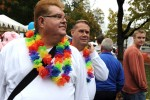 A gay couple strolls through Atlanta's Gay Pride Festival in the city's Piedmont Park. Atlanta was recently ranked by the Advocate Magazine as America's gayest city.   On assignment for Zuma Press