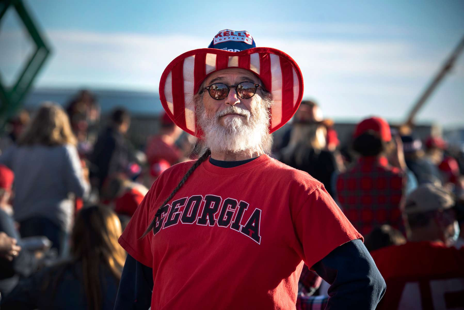 Thousands of Trump supporters converged on small town for Georgia Victory Rally to show support for President Donald Trump and two Republican incumbent U.S. senators Kelly Loeffler and David Perdue, who face democratic challengers in special run run-off election January 5, 2021. The election could decide control of the U.S. Senate.Pictured: Trump supporter waits for rally to begin