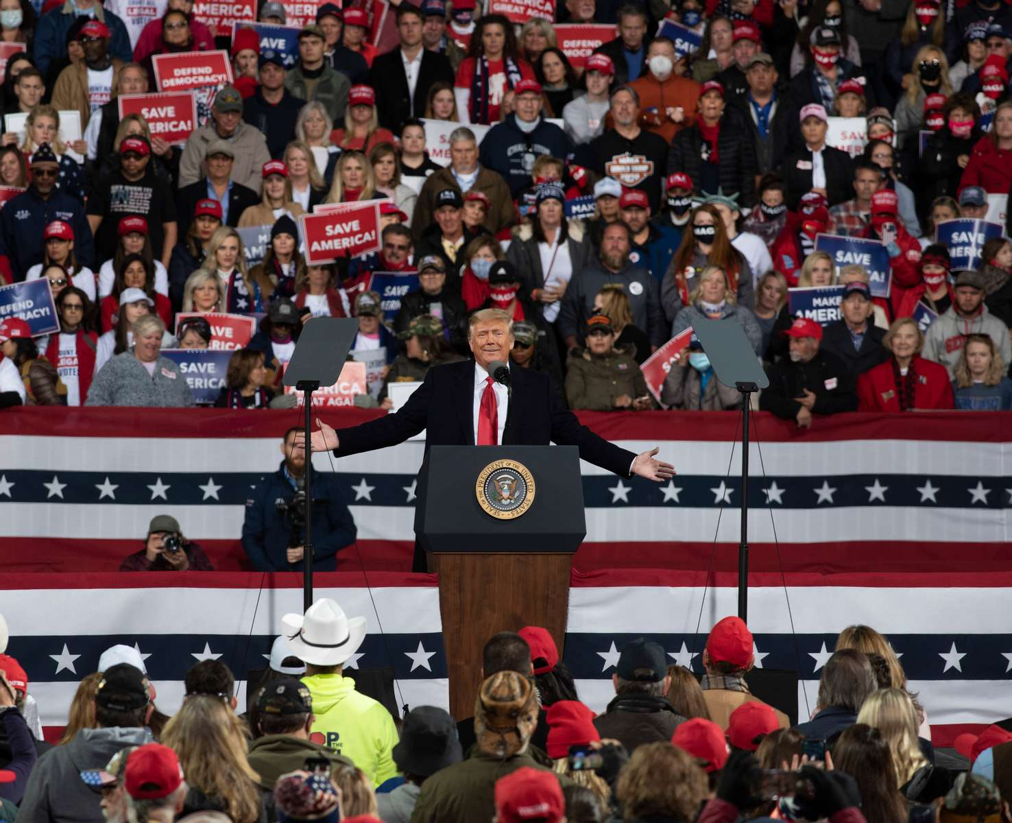 Thousands of Trump supporters converged on small town for Georgia Victory Rally to show support for President Donald Trump and two Republican incumbent U.S. senators Kelly Loeffler and David Perdue, who face democratic challengers in special run run-off election January 5, 2021. The election could decide control of the U.S. Senate.