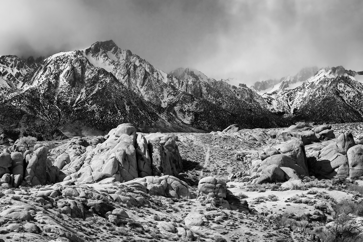 Winter Landscape, Alabama Hills and the Sierra NevadaImage No: 17-001760-bw    Click HERE to Add to Cart