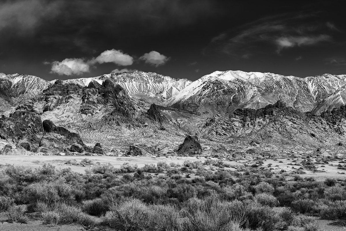 Winter Landscape, Alabama Hills and the SierrasImage No: 17-001890-bw    Click HERE to Add to Cart