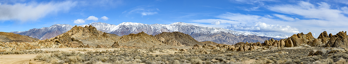 Winter Landscape Panorama Alabama Hills & Inyo MountainsImage No: 17-001892905   Click HERE to Add to Cart