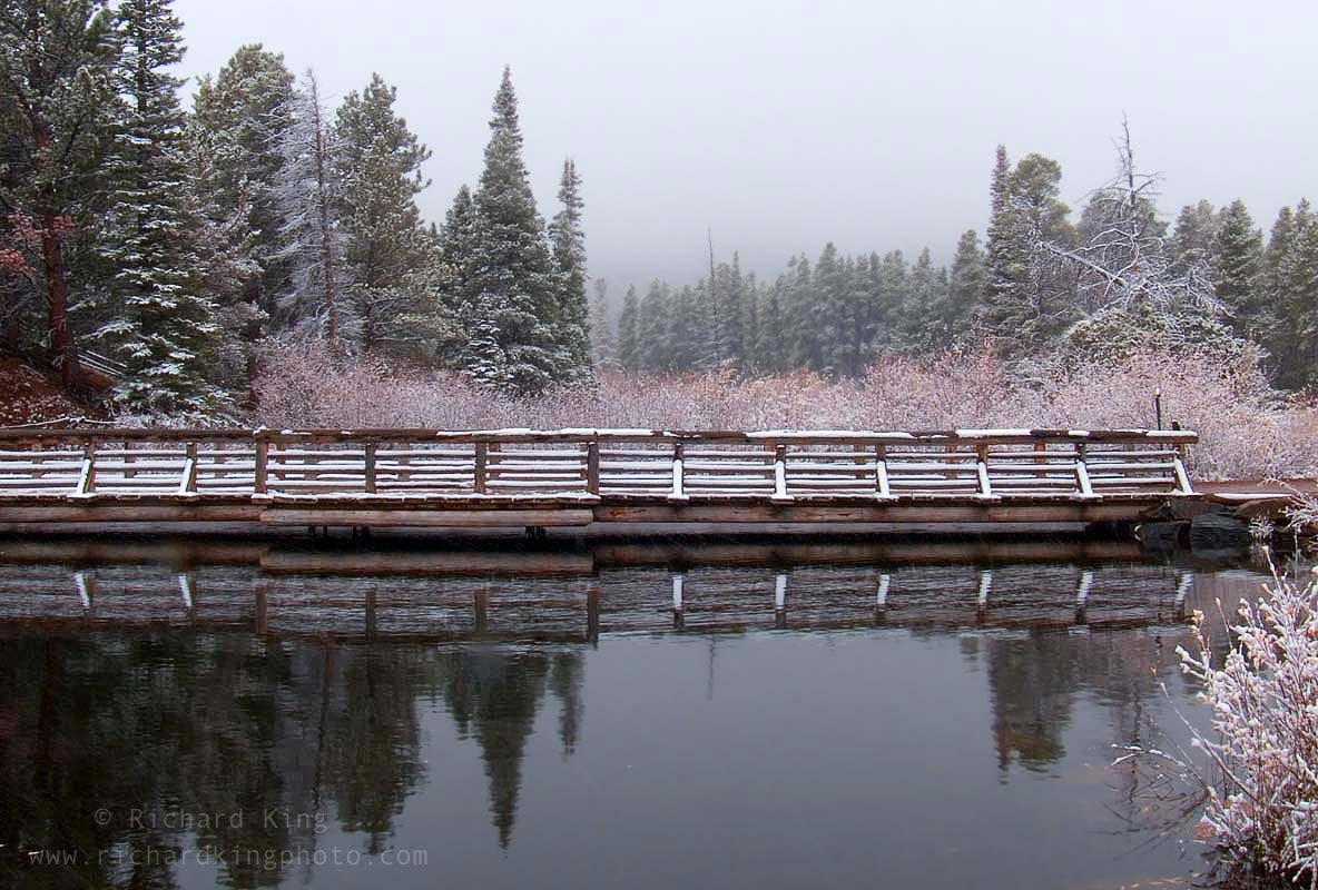 A snowy day in the Rockies, Sprague Lake Rocky Mountain National Park, Colorado, USAImage no: 060586.21  Click on link to add to cart  http://bit.ly/cEvj2a