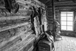 Black and White Photograph of Genuine old log cabins and businesses from the Wild West Moved to The Museum and RestoredImage No: 17-016971-BW  Click HERE to Add to Cart