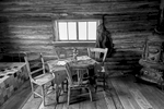 Black and White Photograph of Genuine old log cabins and businesses from the Wild West Moved to The Museum and RestoredImage No: 17-017004-BW  Click HERE to Add to Cart
