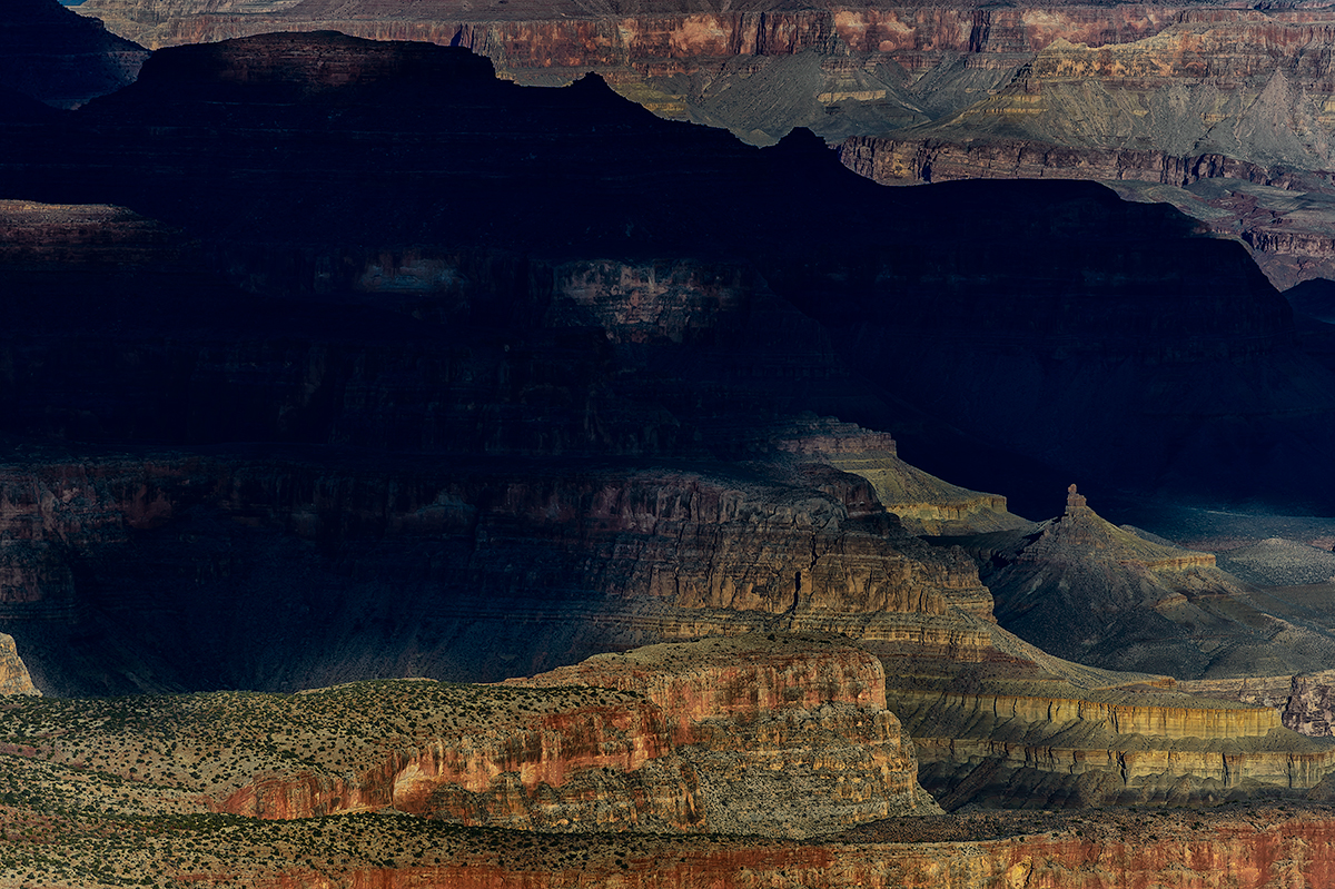 South RimSun painting the mesas as it risesImage No: 125836   Click HERE to Add to Cart