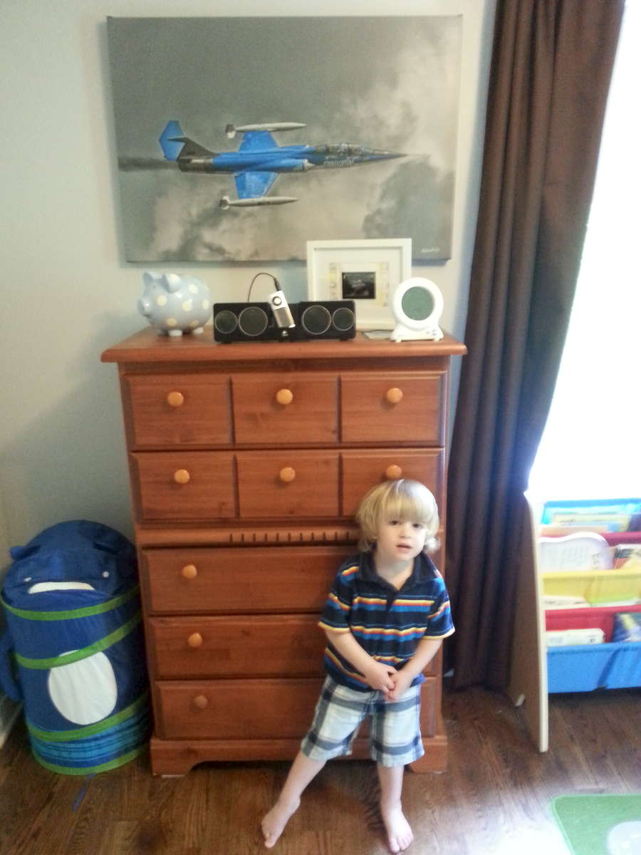 Young Lad with his Starfighter 3' Canvas wrap