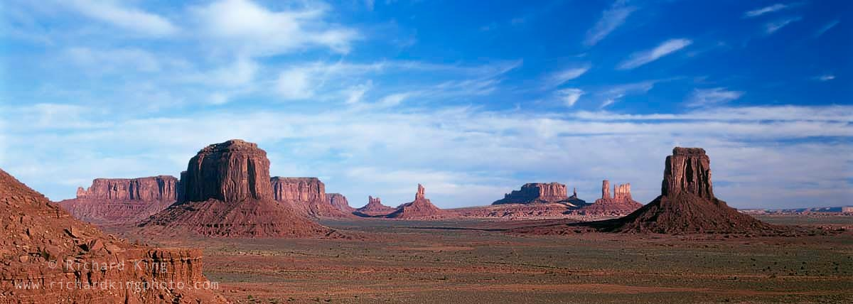 Left to right: Sentinal Mesa; Merrick Butte; Sentinal Mesa; Eagle Mesa; Setting Hen; The Big Indian; Brigham's Tomb; The King On His Throne; Castle Butte; The Bear And Rabbit; The Stagecoach; Right Mitten;Arizona, USAImage No: 021224.03Click HERE to Add to Cart
