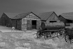 Black and White Photograph of Genuine old log cabins and businesses from the Wild West Moved to The Museum and RestoredImage No: 17-016944-BW  Click HERE to Add to Cart