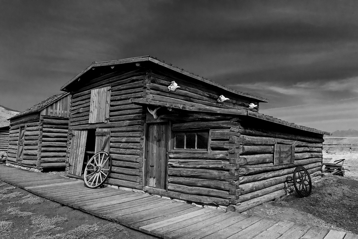 Black and White Photograph of Genuine old log cabins and businesses from the Wild West Moved to The Museum and RestoredImage No: 17-017021-BW  Click HERE to Add to Cart