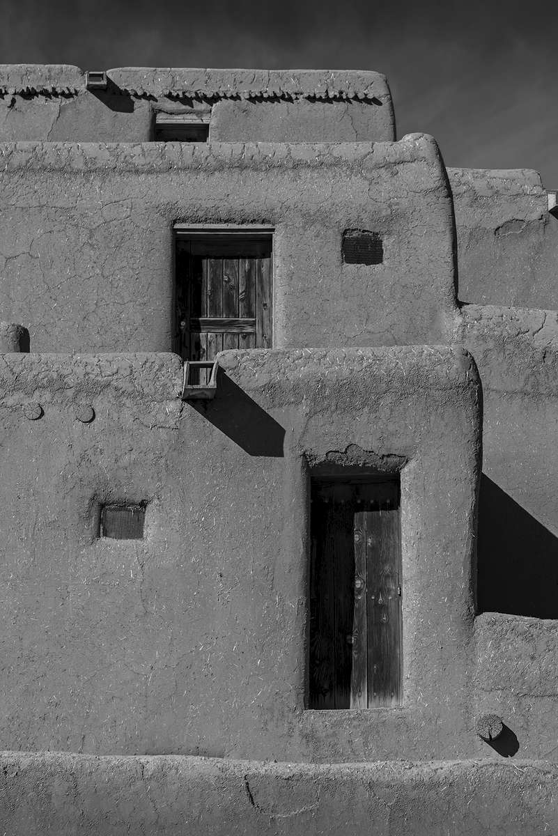 Images of the Taos Pueblo World Heritage Site, New Mexico.A National Historic Landmark.Image no: 17-020682-bw   Click HERE to Add to Cart