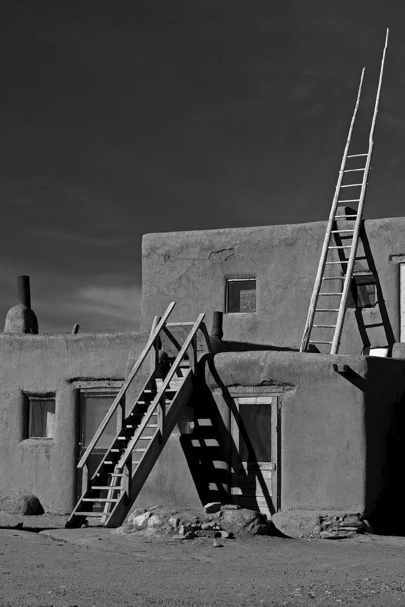 Images of the Taos Pueblo World Heritage Site, New Mexico.A National Historic Landmark.Image no: 17-020687-bw  Click HERE to Add to Cart