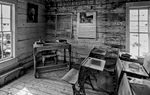 Black and White Photograph of Genuine old log cabins and businesses from the Wild West Moved to The Museum and RestoredImage No: 17-016937-BW  Click HERE to Add to Cart